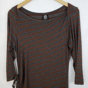 Bobeau Brown and Grey Striped Dress w/ Metallic